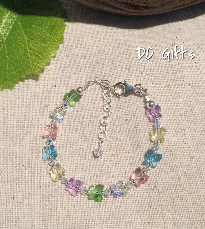 Girl Swarovski Butterfly Bracelet - Handmade Jewelry ...