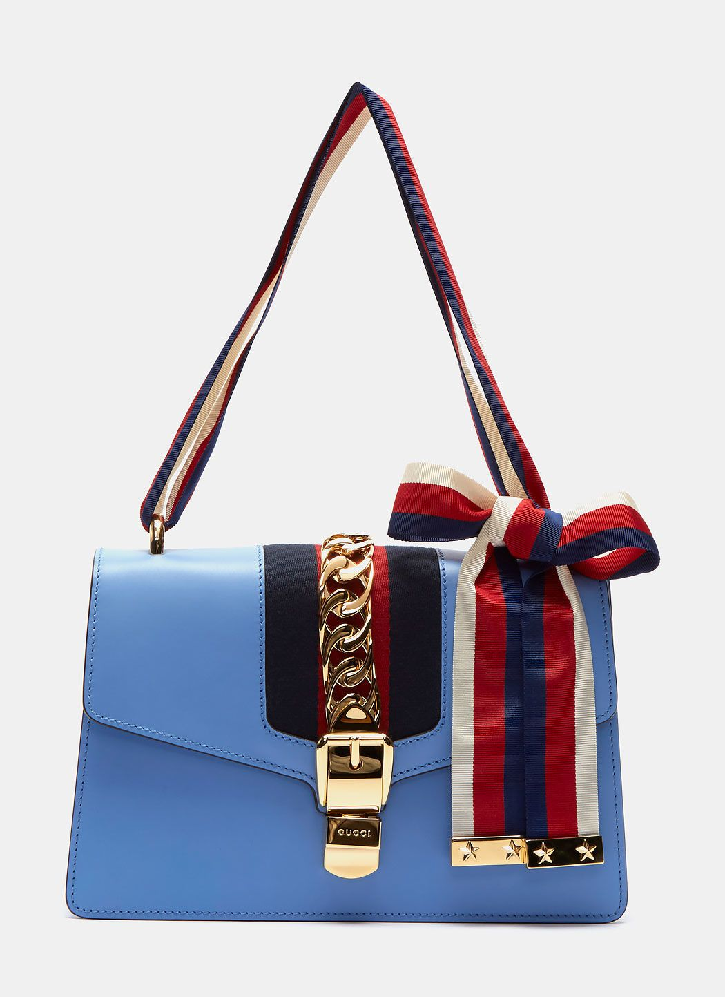 dfab72bd1ad3 GUCCI Women'S Sylvie Medium Handbag In Blue. #gucci #bags #shoulder bags  #lining #suede #