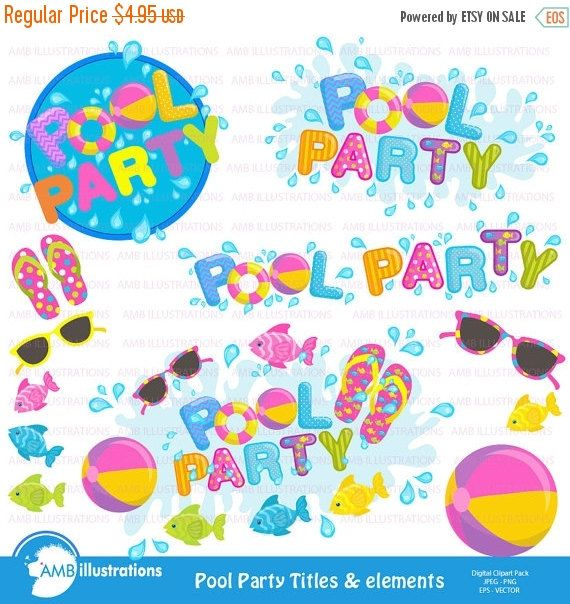 Pool party clipart titles and embellishments pool party 80off pool party titles and embellishments pool party invitation elements commercial use vector graphicsdigital images amb 902 stopboris Images