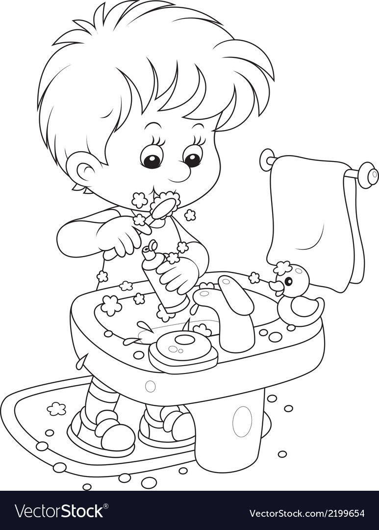 Little Boy Cleaning His Teeth In A Bathroom Download A Free Preview Or High Quality Adobe Illustra Vintage Coloring Books Coloring Pages Disney Coloring Pages