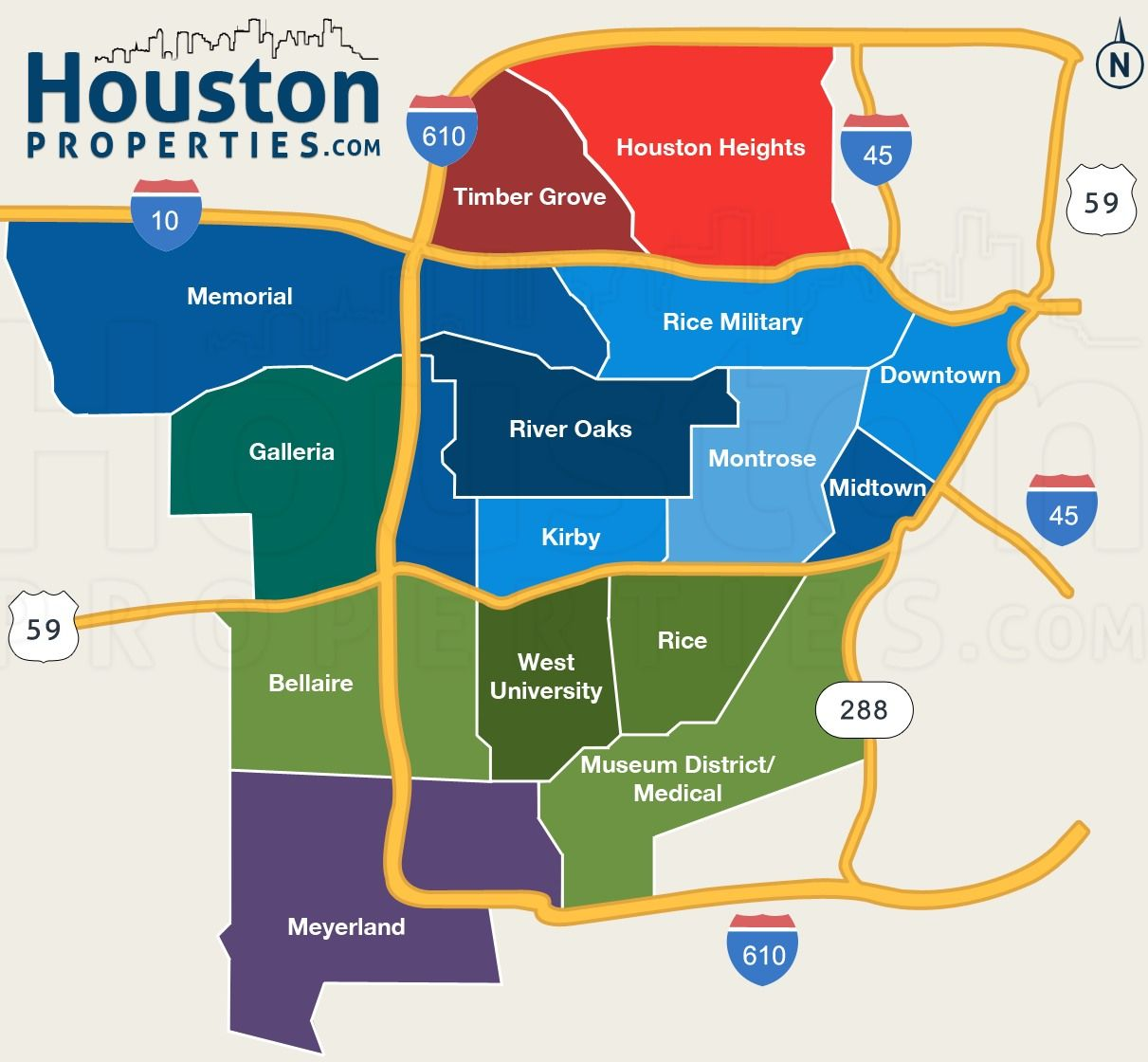 Map Of Neighborhoods In Houston Texas Great Maps Of Houston - Map of houston hotels downtown