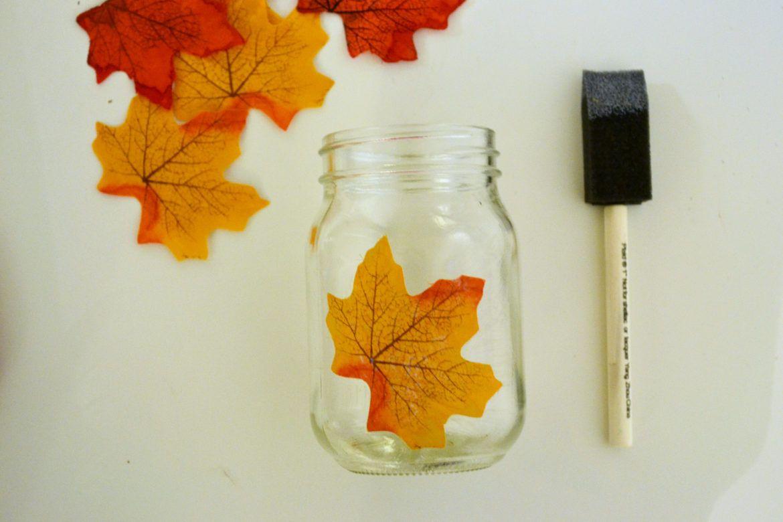 Autumn leaf mason jar candle holder fall decor leaves and jar candle