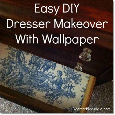 DIY Dresser Makeover With Wallpaper and Glue Dots #furnitureredos