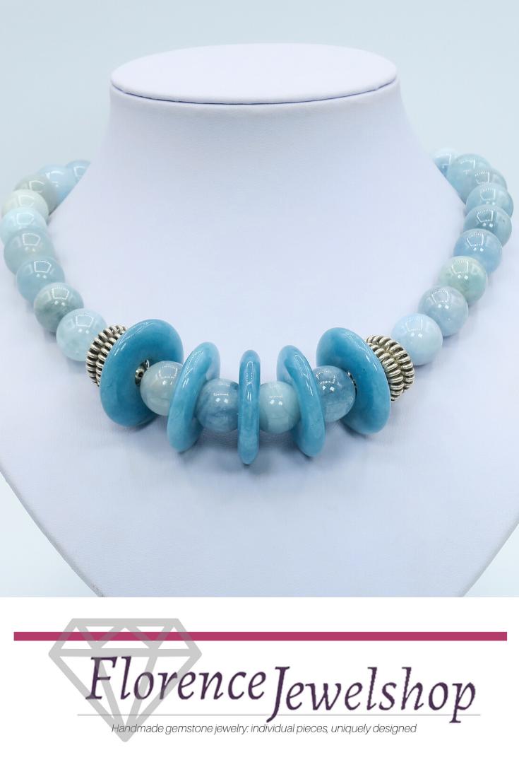 aquamarine quartz necklace, blue aquamarine necklace, silver aquamarine necklace, blue quartz necklace, silver quartz necklace