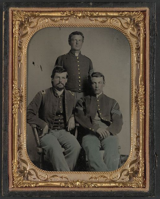 [Three unidentified soldiers in Union 1st Lieutenant, 1st Sergeant, and Master sergeant uniforms] (LOC) by The Library of Congress, via Flickr