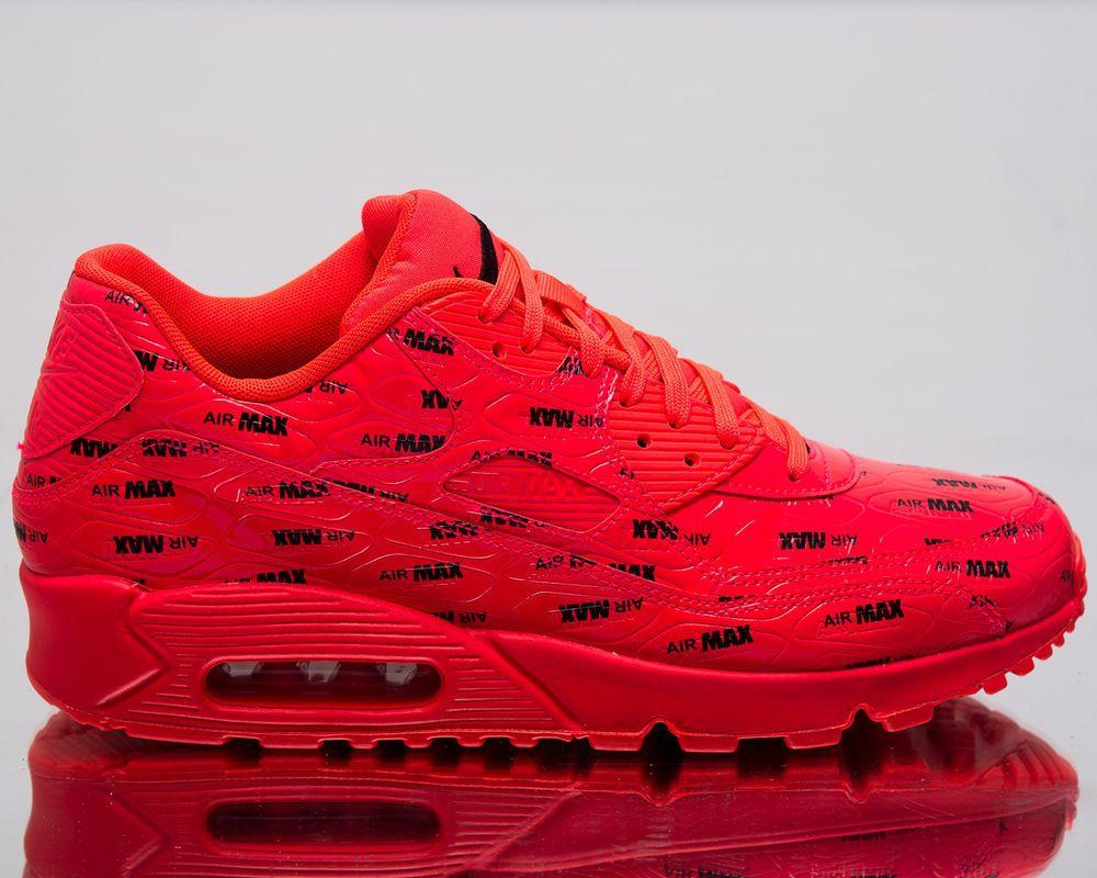 best website 4a1b9 3c34e Nike Air Max 90 Premium Men Lifestyle Shoes Bright Crimson Black 700155-604