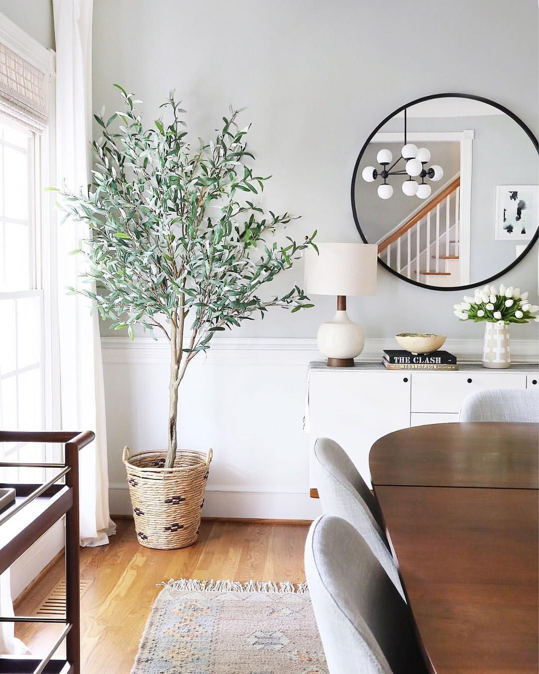480 Likes 17 Comments Erin Wheeler Sunnycirclestudio On Instagram Snapped My New Olive Tree Bright Dining Rooms Mirror Dining Room Dining Room Remodel