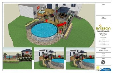 Design 3d plan d 39 am nagement paysager 3d cour arri re for Plan de deck de piscine