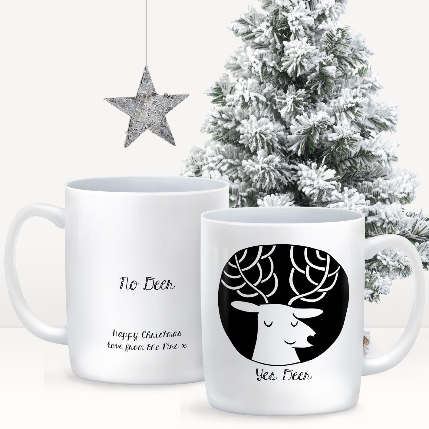 Yes Deer, No Deer, Personalised christmas mug gifts This fun ...
