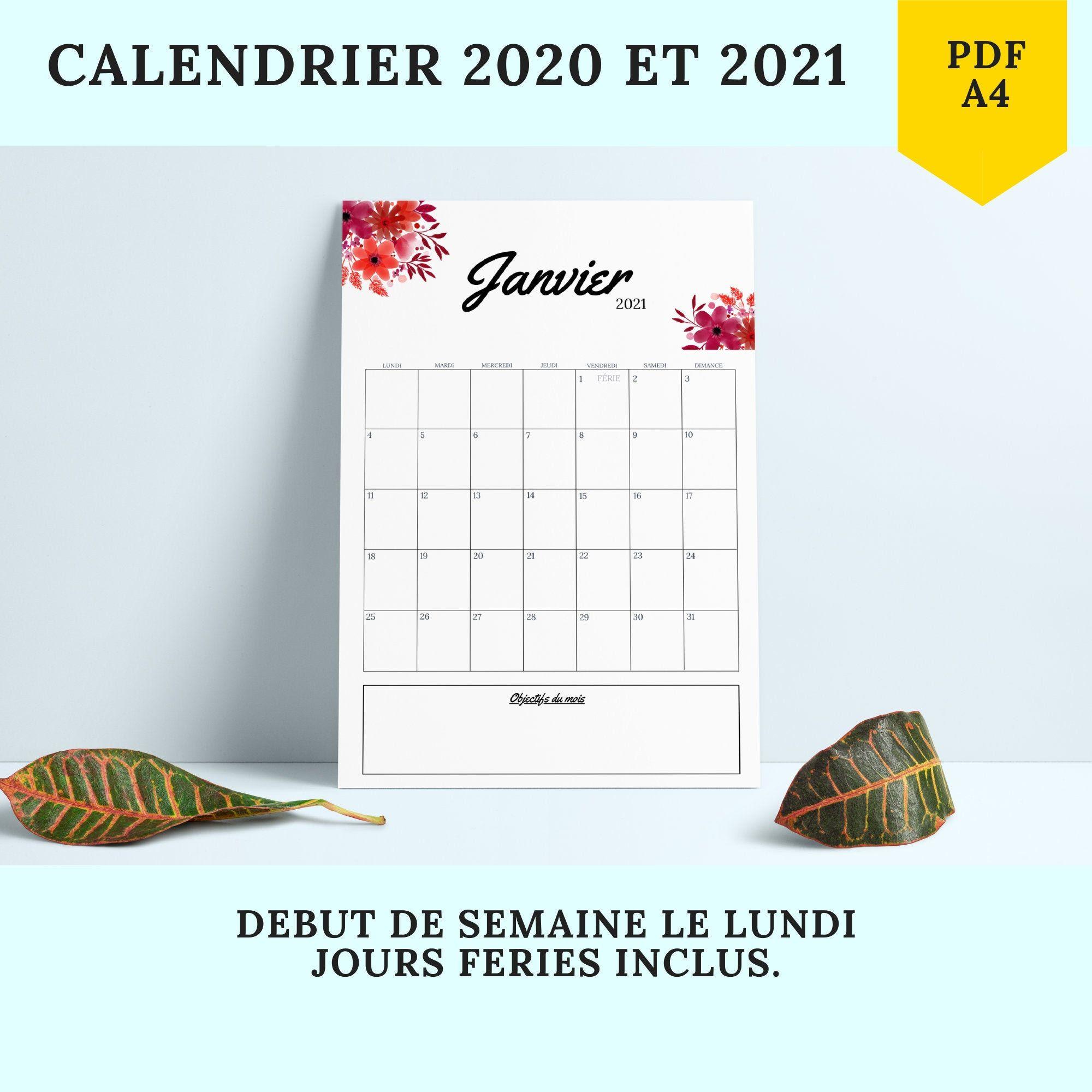 Calendrier Mensuel 2021 2022 PDF Calendrier 2020 et 2021 Portrait Fleurs Planning agenda