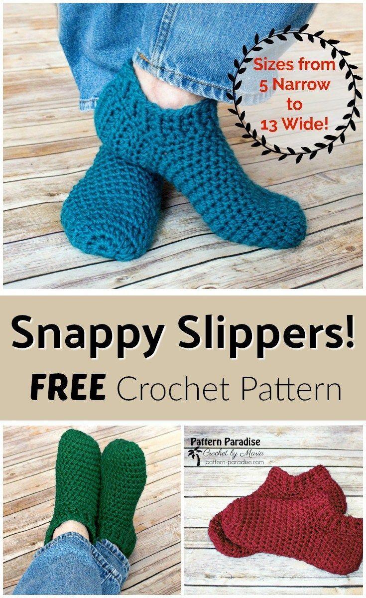Free Crochet Pattern: Snappy Slippers | Pattern Paradise | Crochet ...