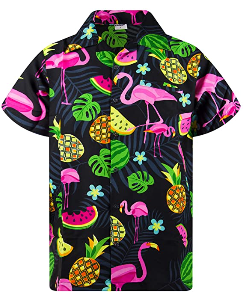 King Kameha Funky Casual Hawaiian Shirt for Kids Boys and Girls Front Pocket Very Loud Shortsleeve Unisex Surf Beach Print