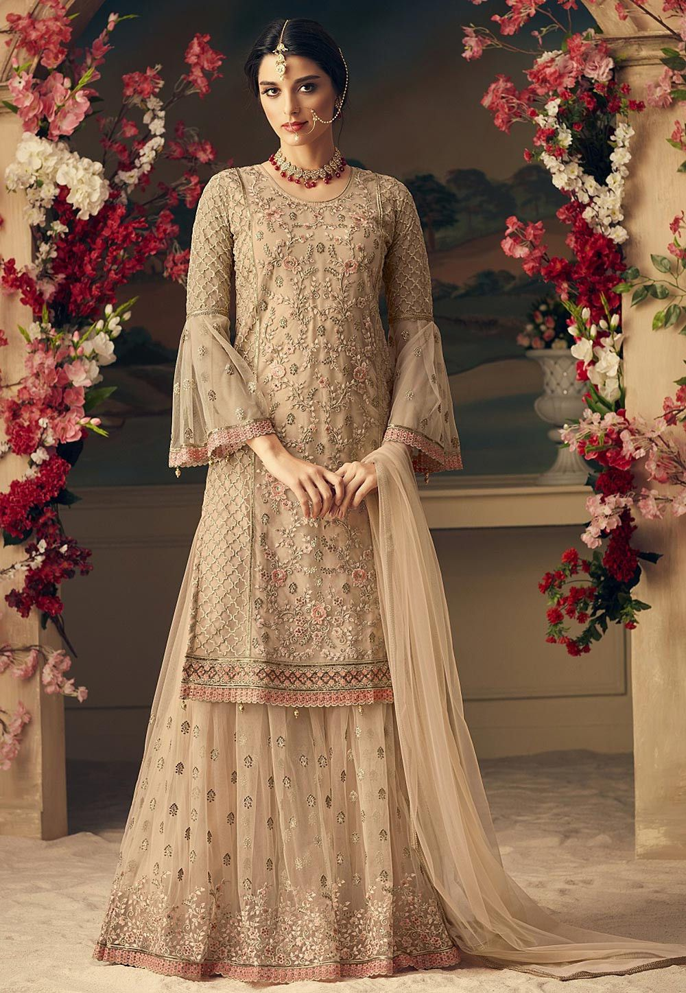 642d2af26435 Buy online Embroidered Net Pakistani Suit in Beige now, Item code: KCH2161,  Color: Beige, Occasion: Wedding, Festive, Bollywood Theme, Fabric: Net, ...