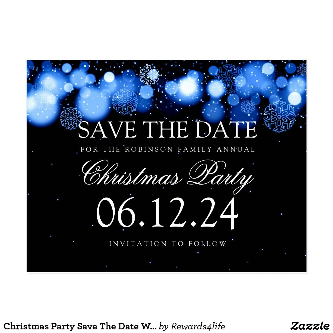 Christmas Party Save The Date Cards.Christmas Party Save The Date Winter Wonder Blue
