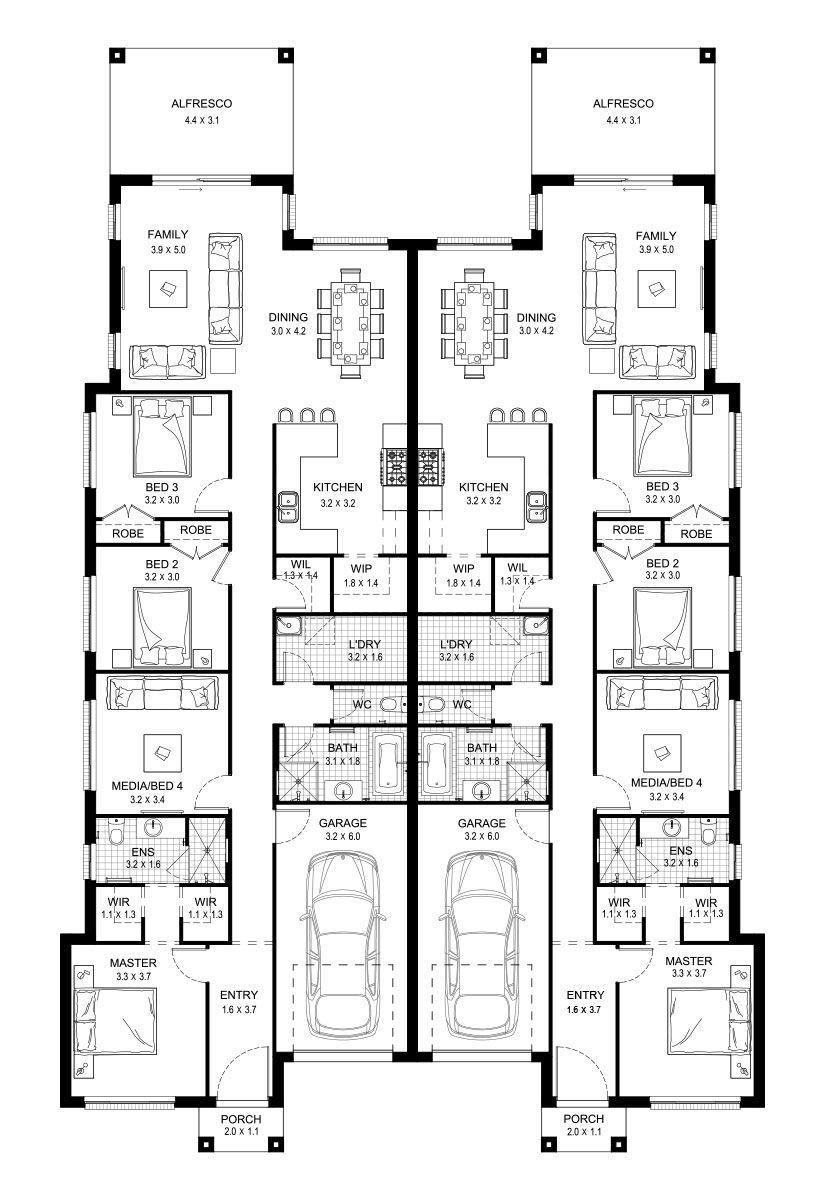 Redleaf 40 Duplex Level Floorplan By Kurmond Homes New Home Builders Sydney Nsw Duplex House Plans Family House Plans Duplex Floor Plans