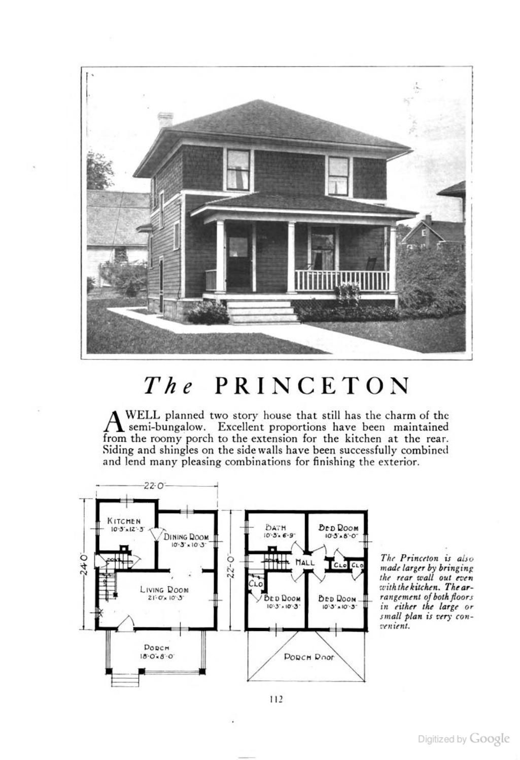 Four Squar House Design Of 1900s: The Princeton (an American Foursquare Kit House/house Plan