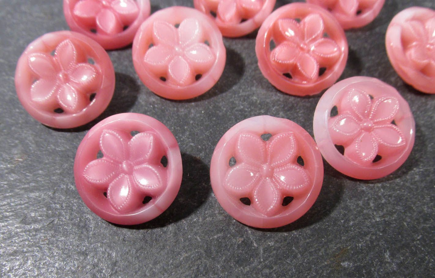 Pink Glass Flower Buttons Open Work Pierced VINTAGE Ten (10) Pink Glass West Germany Vintage Button Wedding Jewelry Supplies (N204) by punksrus on Etsy