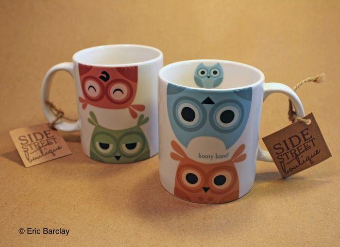 Eric Barclay: Owl Coffee Mugs