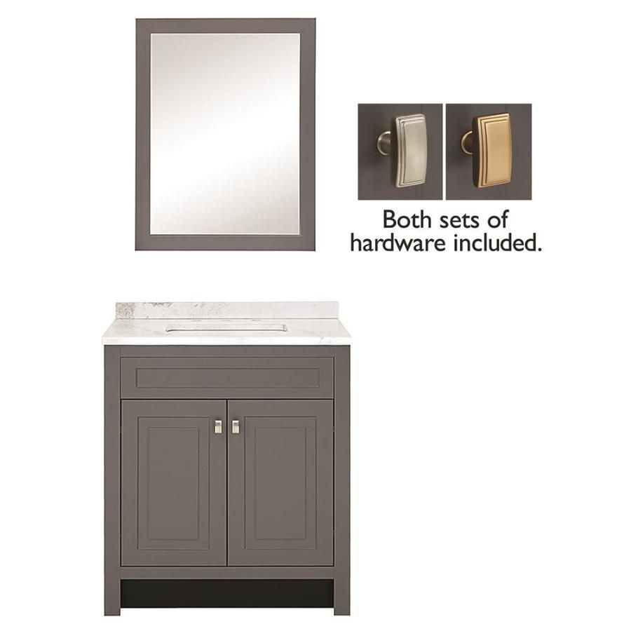 Style Selections 30 In Slate Single Sink Bathroom Vanity With White Arabescato Natural Marble Top Mirror Included Lowes Com Single Sink Bathroom Vanity Bathroom Vanity Bathroom Sink Vanity