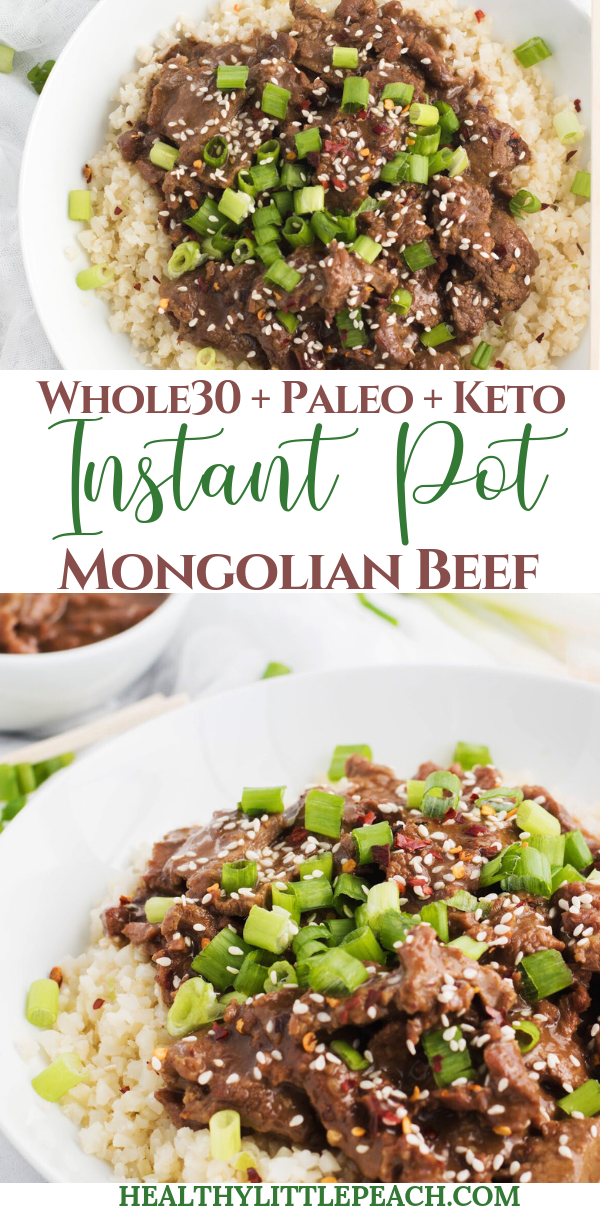 A spin on the traditional takeout Mongolian Beef that is quick and easy, straight out of the Instant Pot. This meal is Whole30, Keto and Paleo compliant.