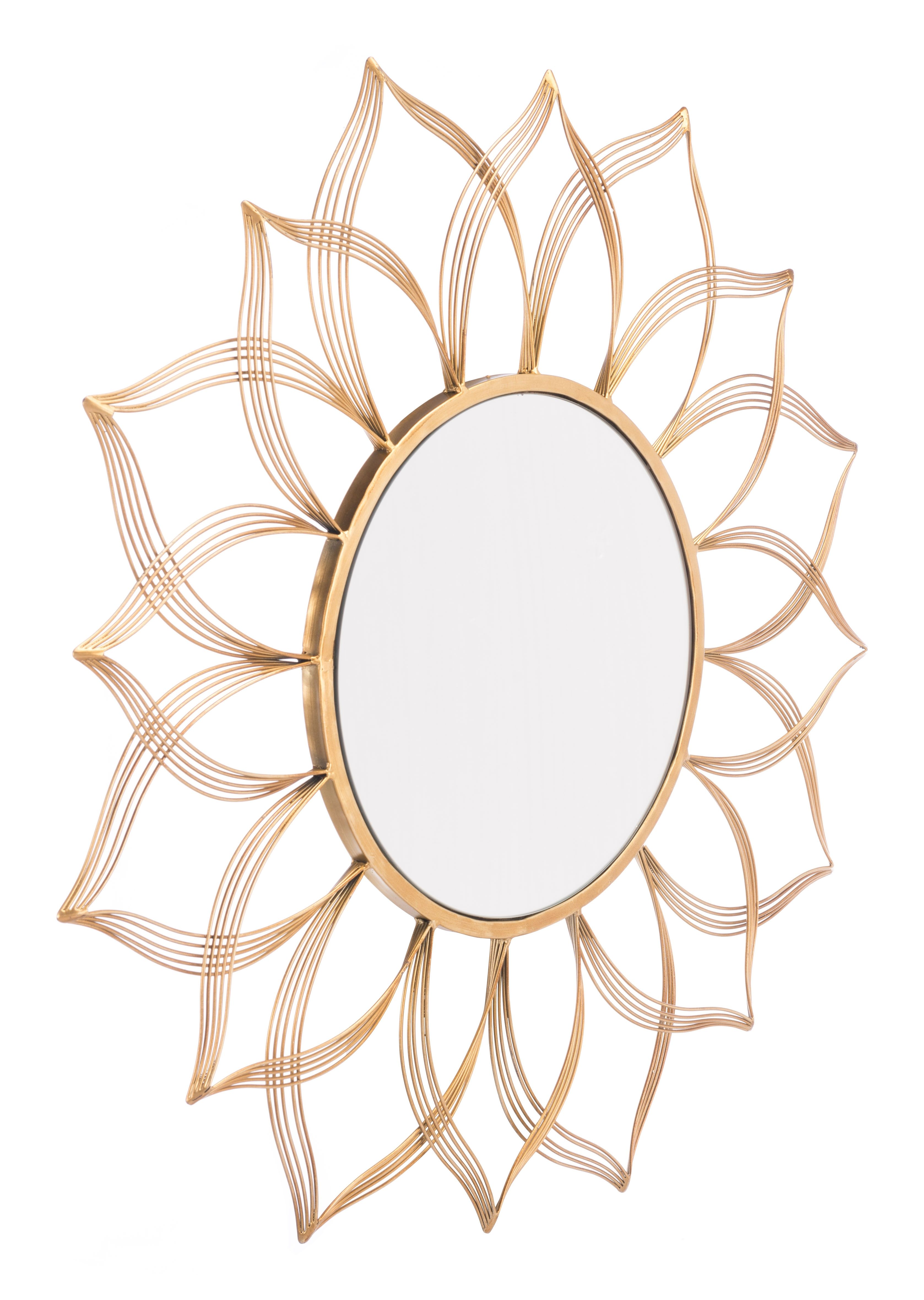 Flor Shaped Wall Mirror Gold Finish