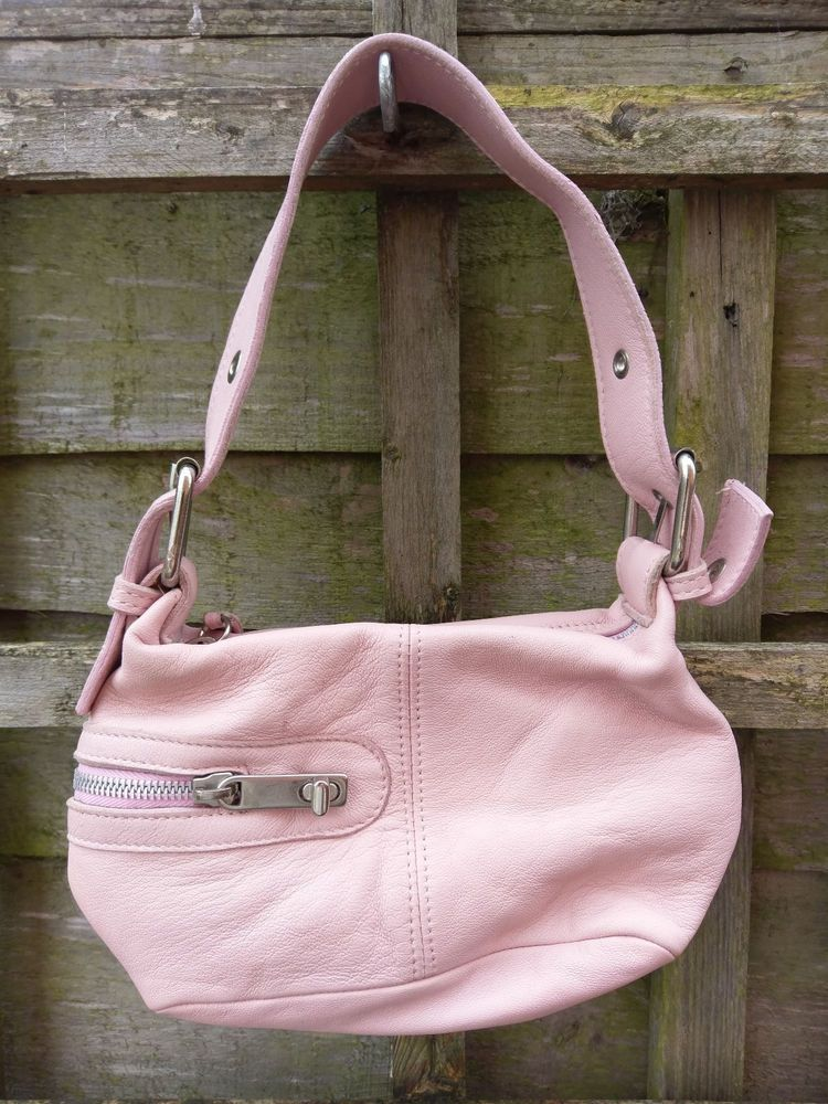 Made Italy Iemme Leather Bag Handbag Money Pouch Pink Colour Locking