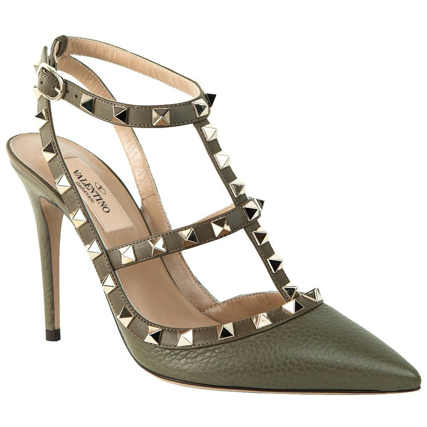 addc1198664c Amazon.com  Valentino Rockstud Army Green 100mm Ankle Strap Pump (35.5)   Shoes