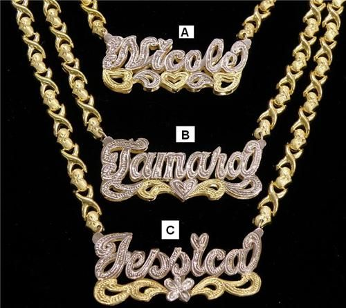 Personalized Name Chain Gp Double Plate Xoxo Gifts N