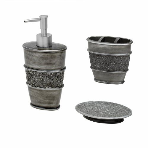 Wondrous Zenna Home India Ink Galahad 3Piece Bath Set Antique Pewter Download Free Architecture Designs Scobabritishbridgeorg