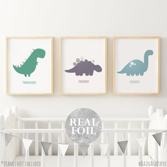 Set Of 3 Dinosaur Nursery Decor Kids Prints Wall Art Baby Gift Gold Silver Rose Foil Pink Print