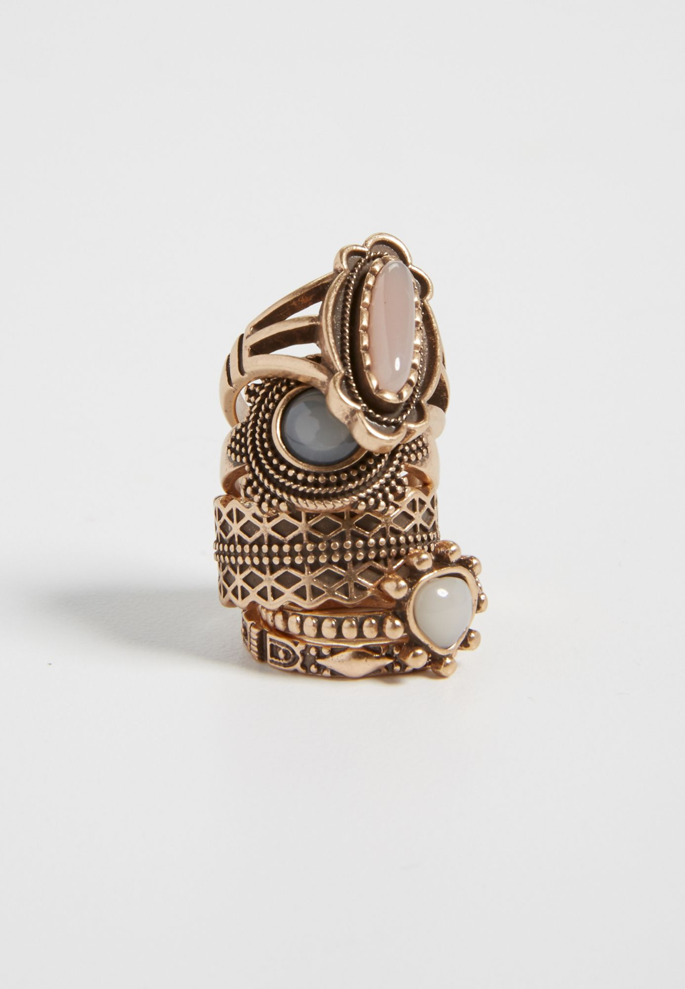 goldtone ring set with gray, pink, and white stones (original price, $14.50) available at #Maurices