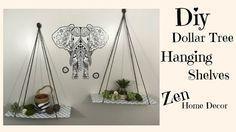 DOLLAR TREE DIY   HANGING SHELVES $3   ZEN HOME DECOR#decor #diy #dollar #hangin...#decordecor #diy #dollar #hangin #hanging #home #shelves #tree #zen