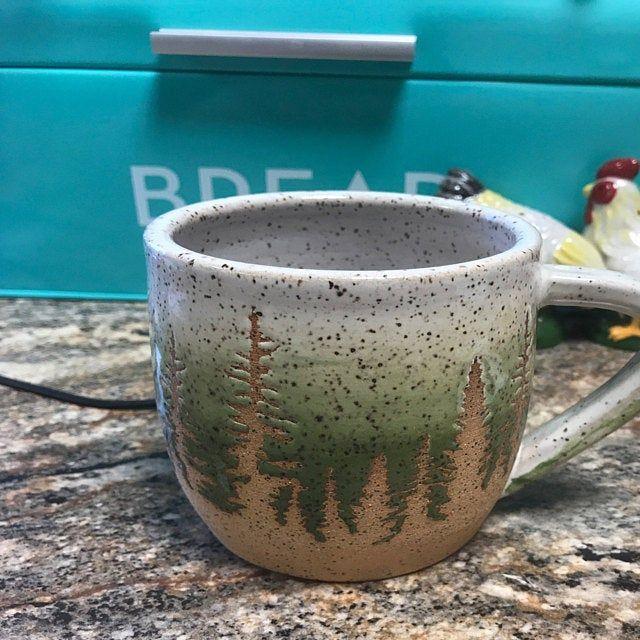 Green Pine Tree Ceramic Mug