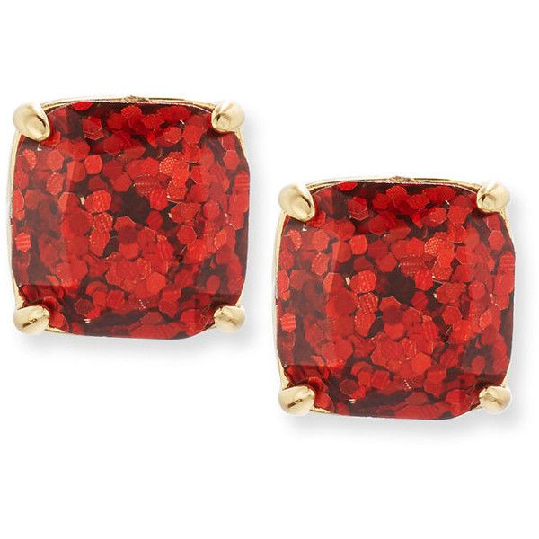 507ebd886 kate spade new york small glittered square stud earrings ($135) ❤ liked on  Polyvore featuring jewelry, earrings, stud earrings, garnet glitter, ...