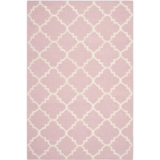 For Safavieh Handwoven Moroccan Reversible Dhurrie Pink Ivory Wool Area Rug X Get Free