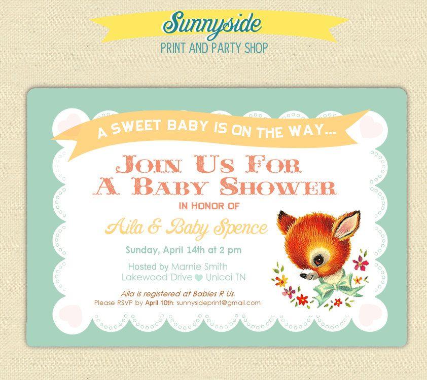 Printable Baby Shower Invites - Vintage Baby Deer - Animals. $15.00 ...