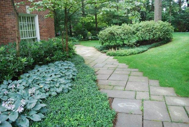 bluestone path slightly offset with an irregular edge on extraordinary garden stone pathway ideas to copy id=26869