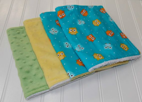Owl Burp Cloths/Minky Green/Yellow/ Cotton by DarlenesNeedlesnPins