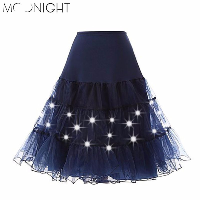 MOONIGHT Tulle Skirts Womens Fashion High Waist LED Lights Tutu ...