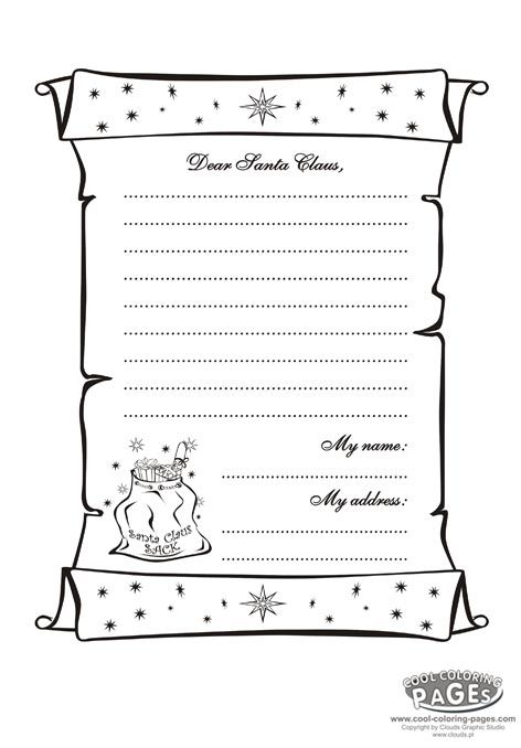 Letter To Santa Claus Coloring Holidays Cool Coloring Pages Santa Letter Super Coloring Pages