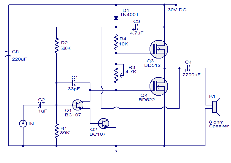 circuit diagram of class a amplifier the wiring diagram 10 watts mosfet audio amplifier ece amplifiers circuit diagram