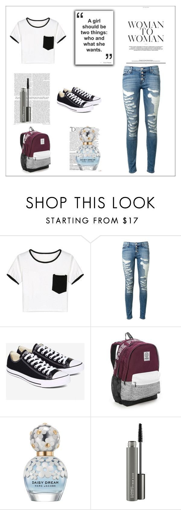 """""""School"""" by autumn-kirby2020 on Polyvore featuring WithChic, Hudson, Converse, Victoria's Secret, Balmain, Marc Jacobs and MAC Cosmetics"""