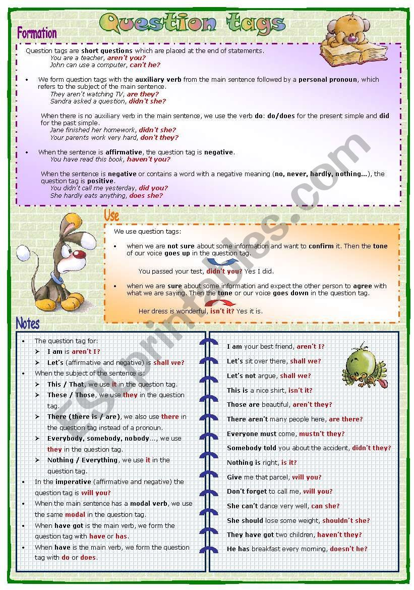 A grammar guide and 4 exercises about Question tags. Key ...