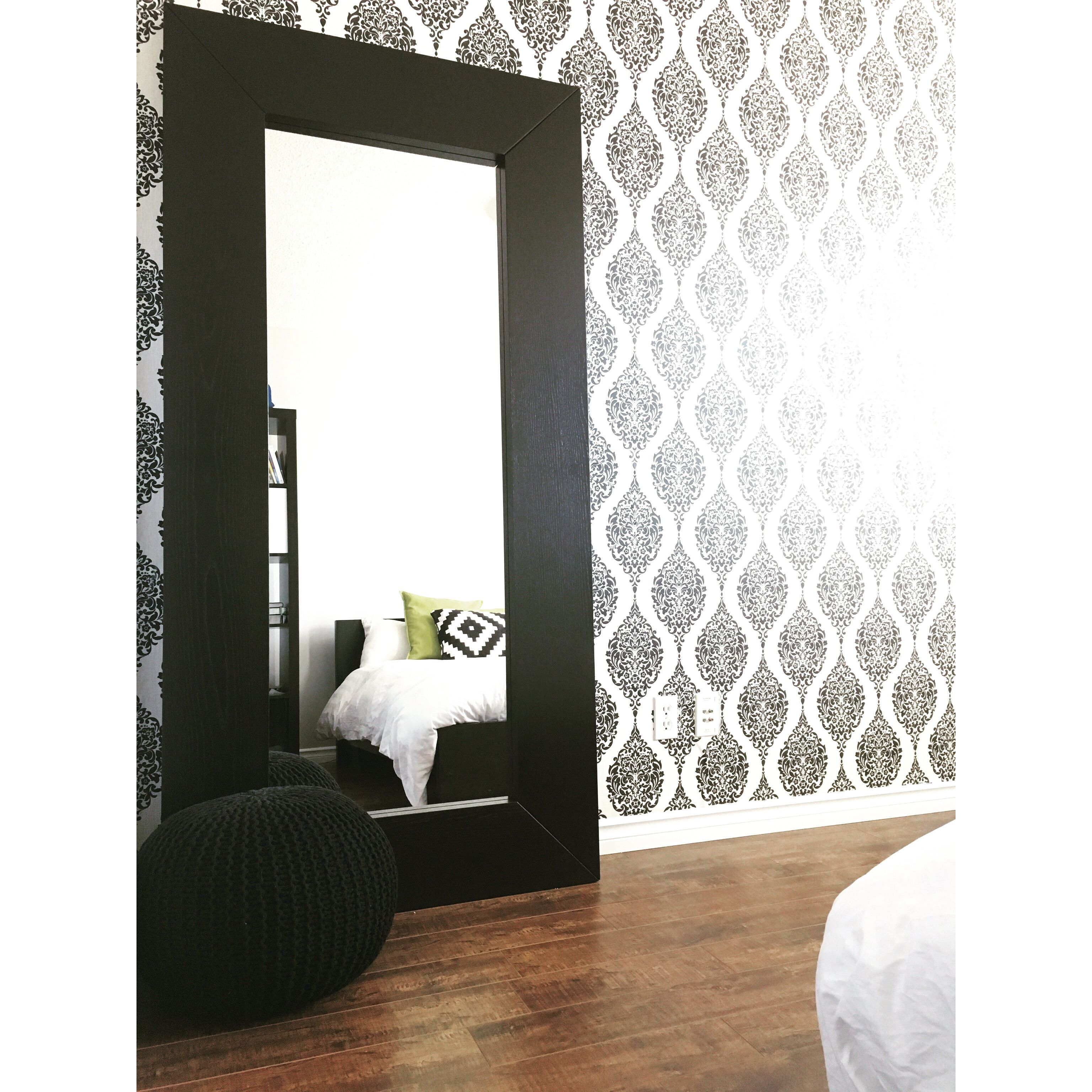 Bedroom decor #homedecor #pouff #mirror #wallpaper