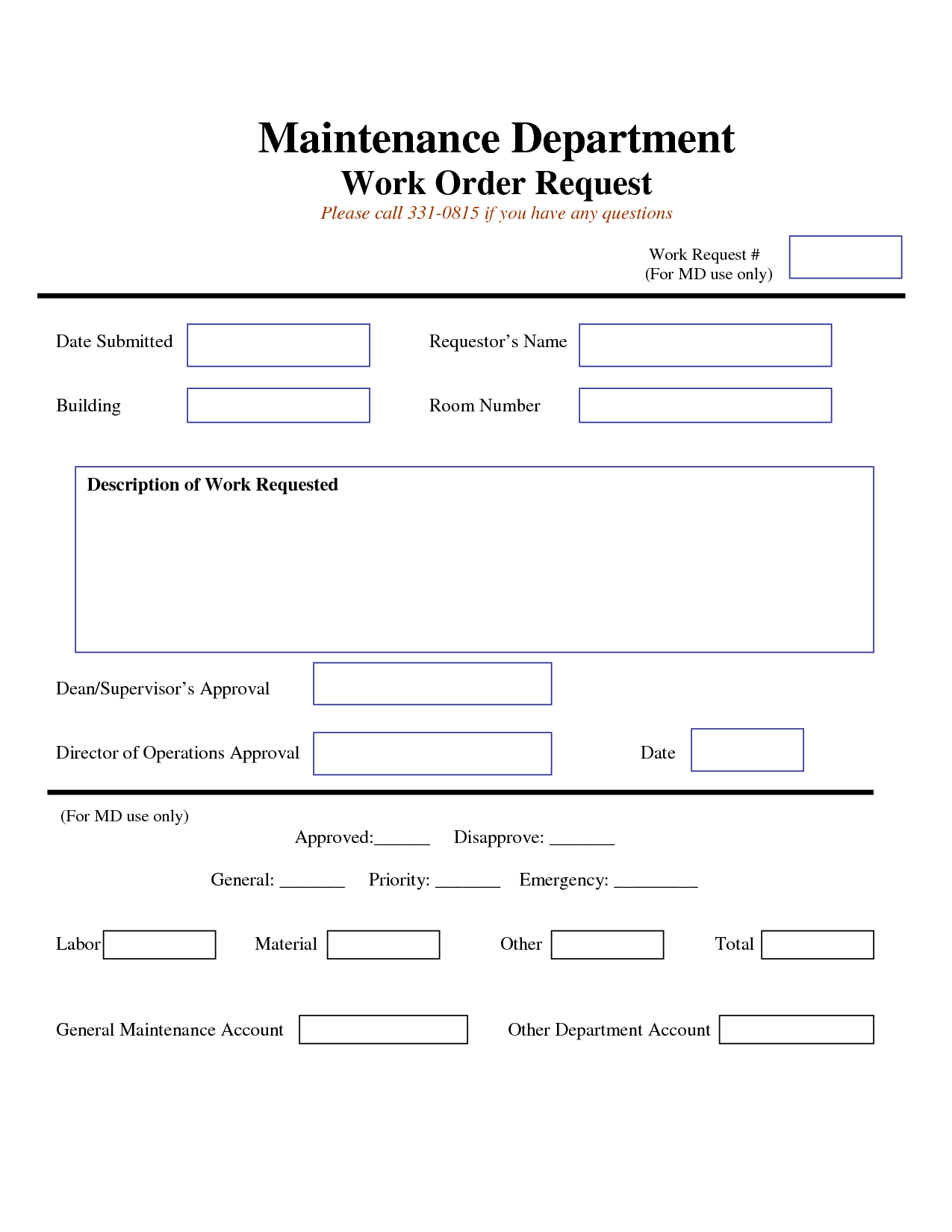 Work Request Form Maintenance Work Order Request Form