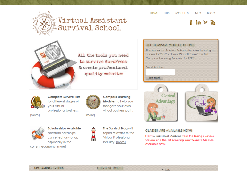 Virtual Assistant Survival School (www.vasurvivalschool.com ) website for  training virtual professionals created with WordPress and Headway by  T.Marie ...
