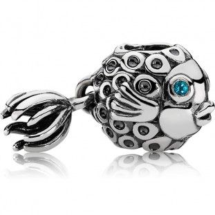 Pandora Splish-Splash Charm with Blue Topaz - Precious Accents
