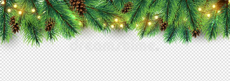 Christmas Border Holiday Garland Isolated On Transparent Background Vector Christmas Tree Branches Ligh Christmas Border Holiday Garlands Christmas Branches