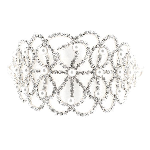 Thick Rhinestone Choker with Pearls