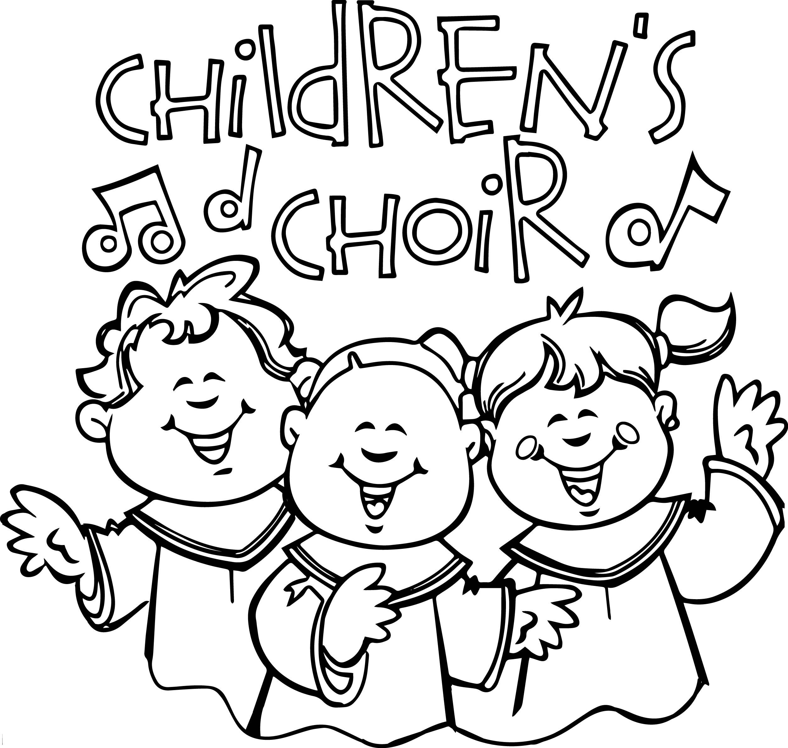 awesome Children Singing In Church Kids Coloring Page
